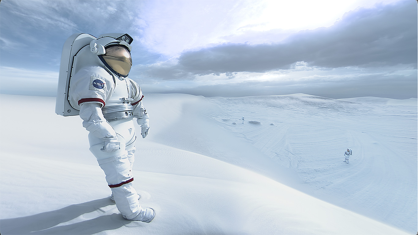 VR experience of Nasa astronaut walking through