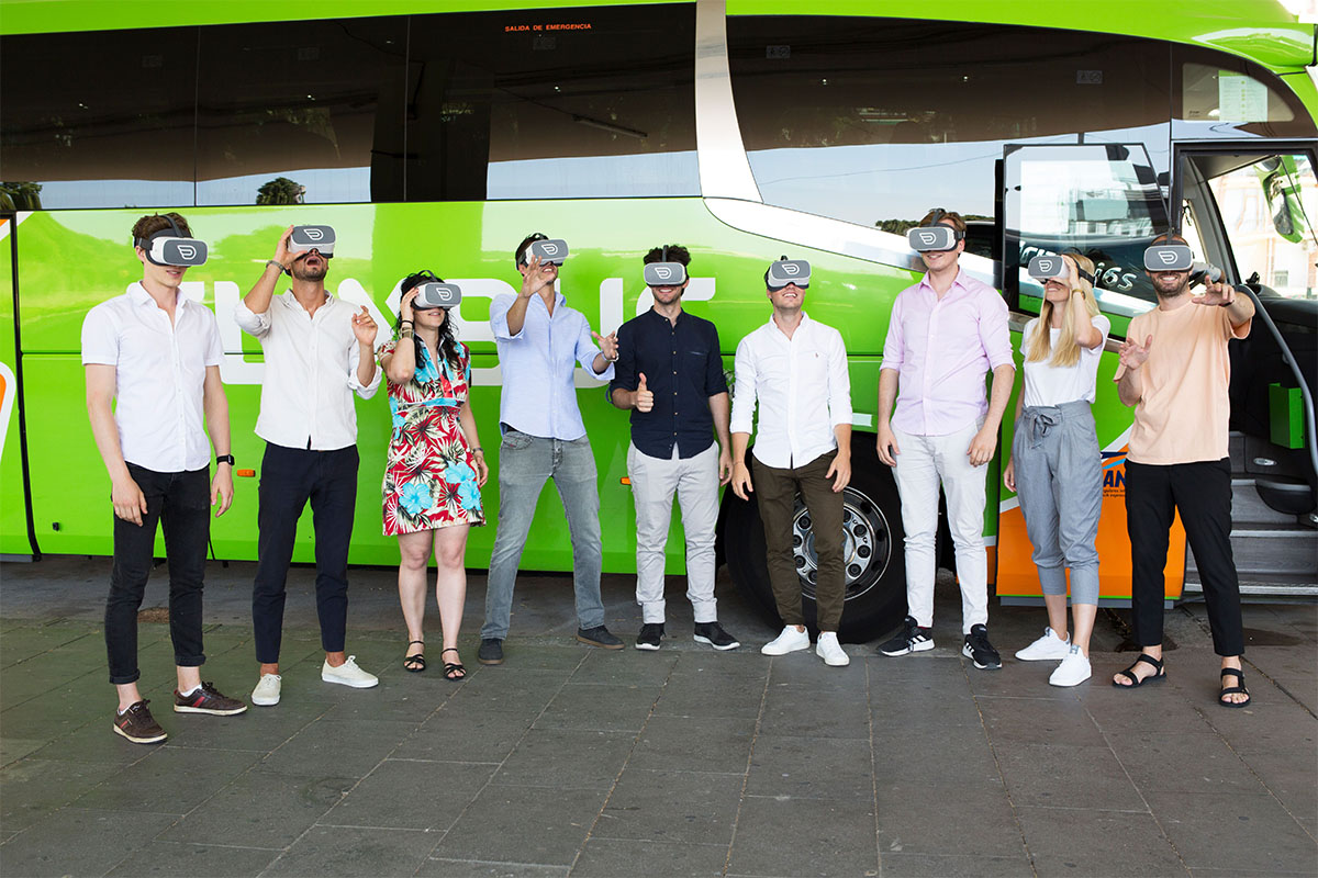Groupf of people having Inflight VR experience with flixbus